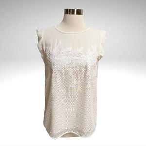 LOFT White Eyelet Overlay Lace Fluttersleeve Top Size Small